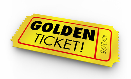 Golden Ticket Great Opportunity Winner Chance Words Render 3d Illustration
