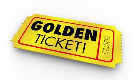 Golden Ticket Great Opportunity Winner Chance Words Render 3d Illustration