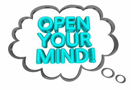 Open Your Mind New Fresh Thinking Thought Cloud Words 3d Illustration
