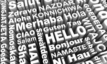Hello Greetings in Different Languages Words 3d Illustration Imagens