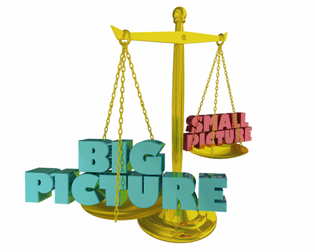 Big Picture Vs Small Balance Words 3d Illustraion