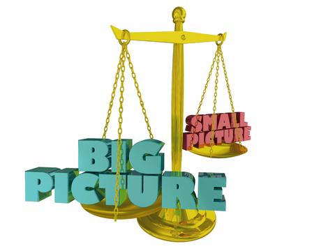 Big Picture Vs Small Balance Words 3d Illustraion