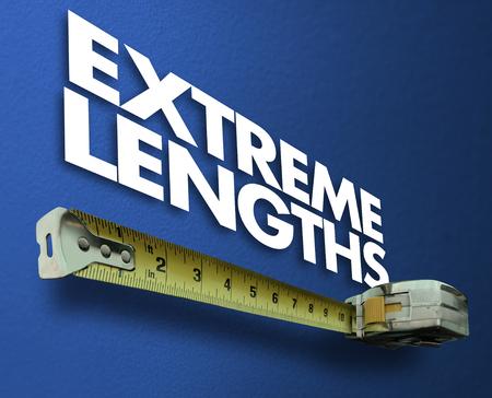 Extreme Lengths Measuring Tape Extra Effort Words 3d Render Illustration