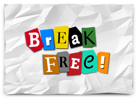 Break Free Ransom Note Letters Freedom Words 3d Illustration
