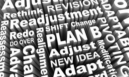 Plan B New Strategy Redo Rethink Idea Words 3d Render Illustration Stock Photo