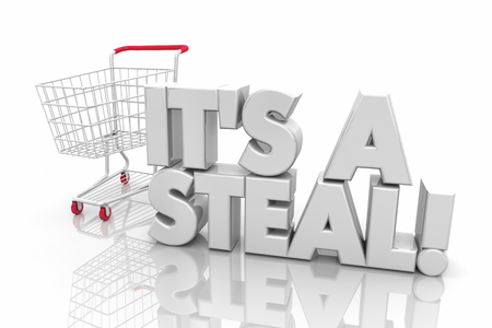 Its a Steal Great Price Bargain Shopping Cart Words 3d Render Illustration