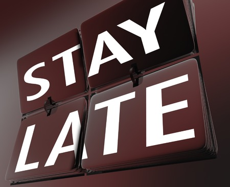 Stay Late Clock Retro Flipping Tiles Extra Time 3d Render Illustration