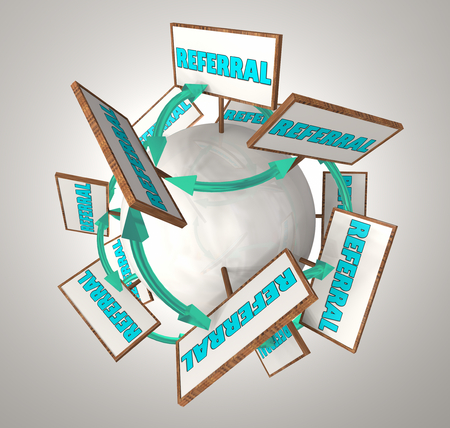 Referral New Customer Arrows Signs Spreading 3d Render Illustration