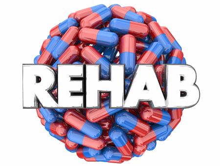 Rehab Drug Addiction Treatment Kick Pills Habit 3d Render Illustration Stock Photo