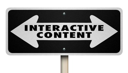 Interactive Content Sign Two Way ArrowsWords 3d Render Illustration Stock Illustration - 102423996