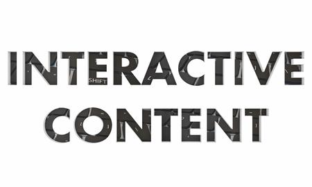 Interactive Content Computer Keyboard Online Interaction Words 3d Render Illustration