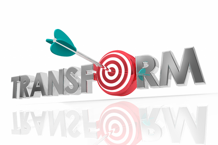 Transform Change Evolve Disrupt Arrow Target Word 3d Render Illustration