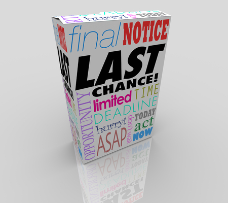 Last Chance Product Limited Time Offer Sale Words 3d Render Illustration Stock Photo