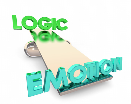 Logic Vs Emotion See Saw Balance Choice Winner Words 3d Render Illustration
