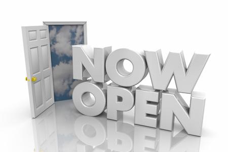 Nu Open Deur Kantooruren Grand Opening Woorden 3d Render Illustratie Stockfoto