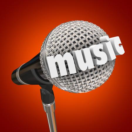 Music Microphone Singing Performance Talent Singer Word 3d Render Illustration Stock fotó