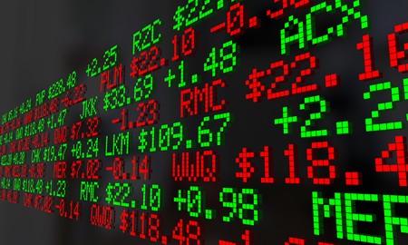 Stock Market Wall Street Ticker Prices Numbers Scrolling 3d Illustration