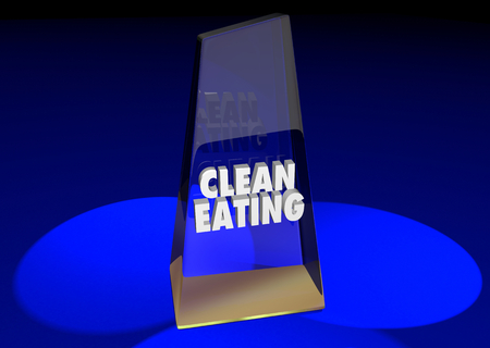 Clean Eating Award Best Diet Nutrition Words 3d Render Illustration Stock Photo