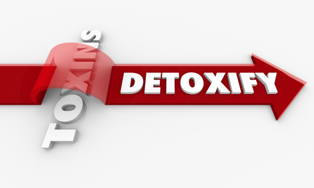 Detoxify Vs Toxins Arrow Toxicity Words 3d Render Illustration
