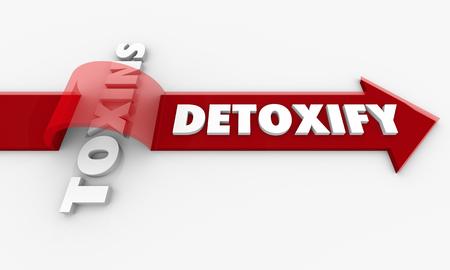 Detoxify Vs Toxins Arrow Toxicity Words 3d Render Illustration