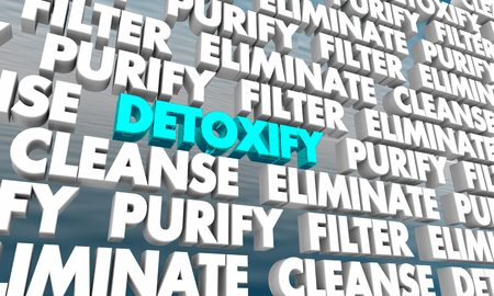 Detoxify Purify Cleanse Wall of Words 3d Render Illustration