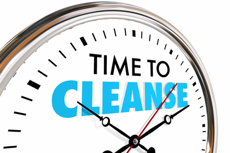 Time to Cleanse Clock Purify Detoxify Words 3d Render Illustration Imagens