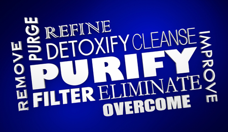 Purify Cleanse Detoxify Words Collage 3d Render Illustration