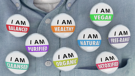 I am Healthy Purified Detoxified Cleansed Buttons Pins Words 3d Render Illustration Imagens