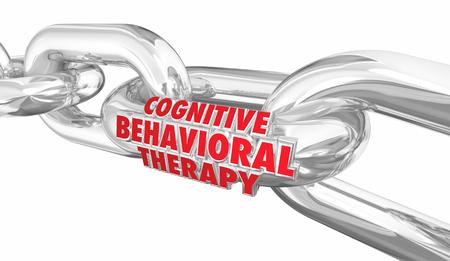Cognitive Behavioral Therapy Chain Links Treatment Words 3d Render Illustration Stock fotó