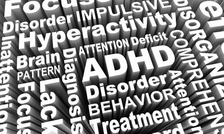 ADHD Attention Deficit Hyperactivity Disorder Words 3d Render Illustration