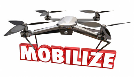 Mobilize Launch Liftoff Take Action Drone 3d Render Illustration
