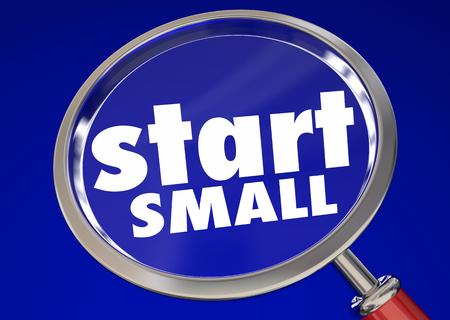 Start Small Magnifying Glass Words Begin 3d Render Illustration Stock Photo