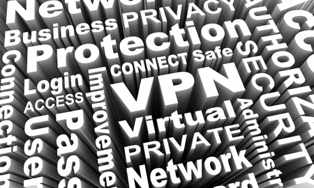 VPN Virtual Private Network Security Access Words 3d Render Illustration