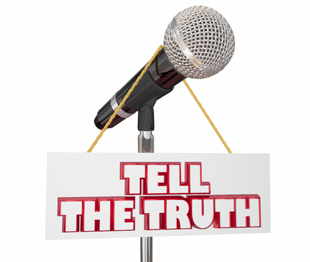 Tell the Truth Microphone Share Honest Information 3d Render Illustration Фото со стока