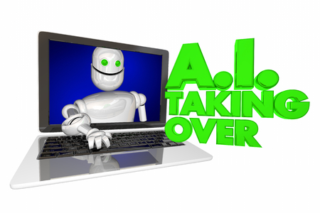 AI Taking Over Artificial Intelligence Words Robot 3d Render Illustration Stock Photo