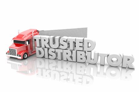 Trusted Distributor Truck Logistics Supplier Vendor 3d Render Illustration Stock Photo