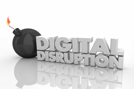 Digital Disruption Bomb Explosive Change 3d Render Illustration