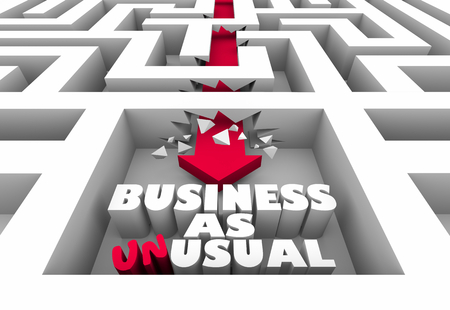 Business as Unusual Arrow Maze Change Disrupt Word 3d Illustration