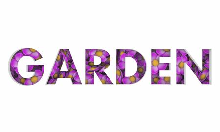 Garden Flowers Growing Plants Nursery Word 3d Illustration Imagens