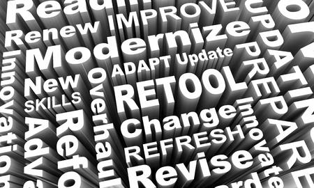 Retool Update Modernize New Innovation Words 3d Illustration Stock Photo