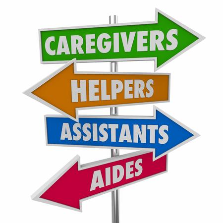 Caregivers Helpers Assistants Aides Signs Words 3d Illustration Standard-Bild