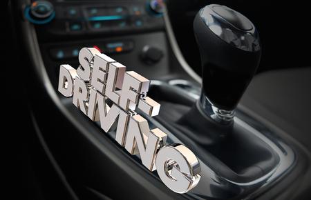 Self-Driving Autonomous Car Vehicle Autonomy Words 3d Render Illustration