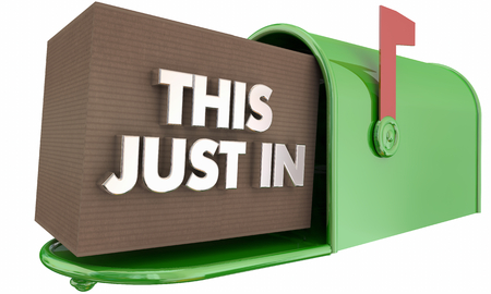 This Just in Mailbox Package Box Delivery Words 3d Render Illustration