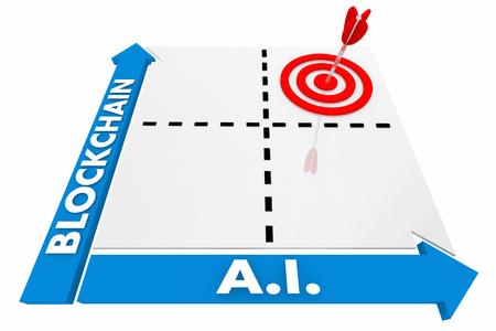 Blockchain AI Convergence Matrix Artificial Intelligence Words 3d Render Illustration Stock Photo