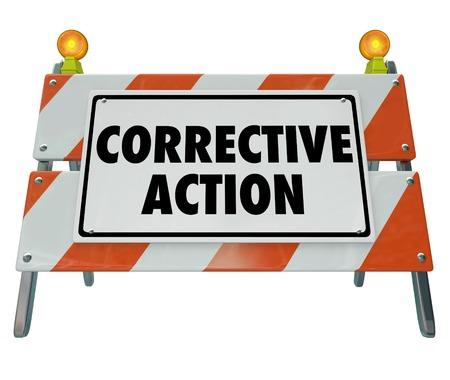 Corrective Action Repair Fix Problem Barricade Sign Words 3d Render Illustration