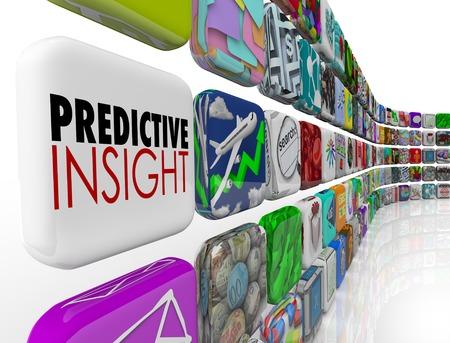 Predicitve Insight Analysis Intelligence Forecast Prediction Words 3d Render Illustration Banque d'images - 103069058