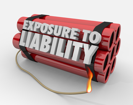 Exposure to Liability Risk Mitigation Bomb Dynamite Words 3d Render Illustration Banco de Imagens