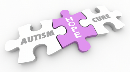 Autism Hope for Cure Puzzle Pieces Words 3d Render Illustration Stock Photo