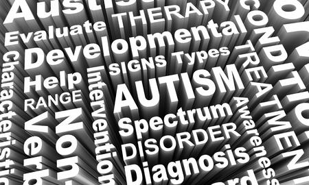 Autism Diagnosis Spectrum Treatment Word Collage 3d Render Illustration