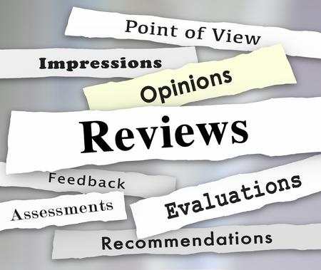 Reviews Opinions Feedback Newspaper Headlines 3d Illustration Stock Photo